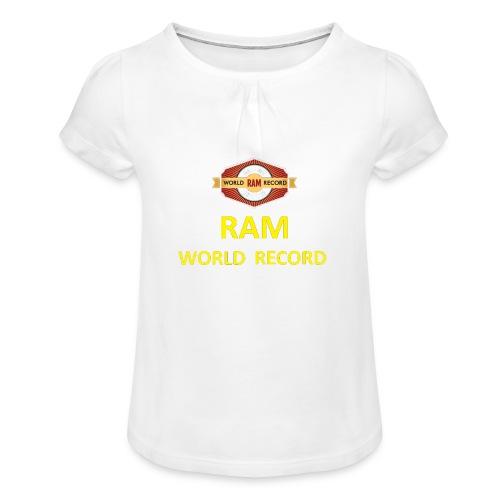 RWR gelb mit Datum (weiß) - Mädchen-T-Shirt mit Raffungen