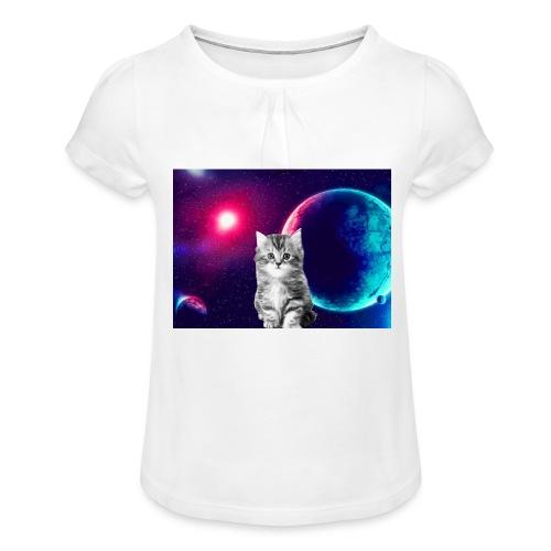 Cute cat in space - Tyttöjen t-paita, jossa rypytyksiä