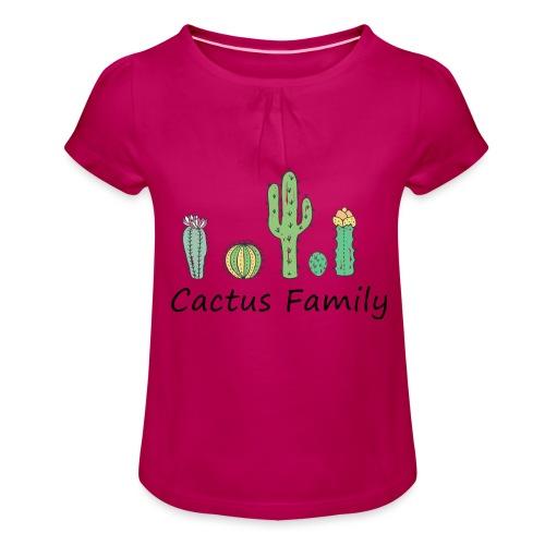 Cactus family - Mädchen-T-Shirt mit Raffungen