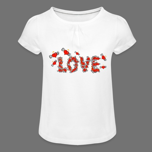 Flying Hearts LOVE - Girl's T-Shirt with Ruffles