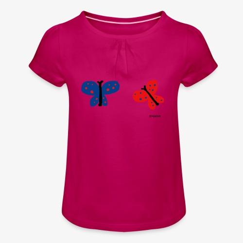 Perhoset - Tyttöjen t-paita, jossa rypytyksiä
