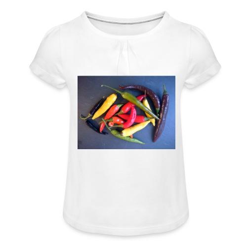 Chili bunt - Mädchen-T-Shirt mit Raffungen