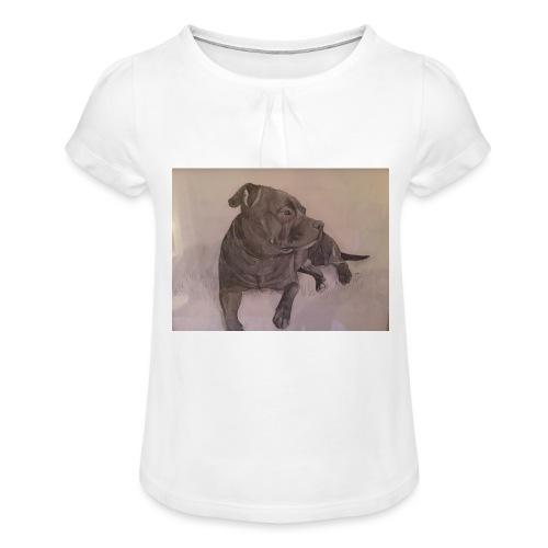 My dog - T-shirt med rynkning flicka