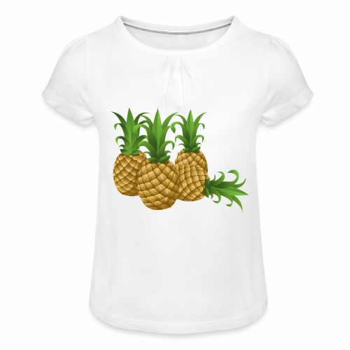 Ananas - Mädchen-T-Shirt mit Raffungen