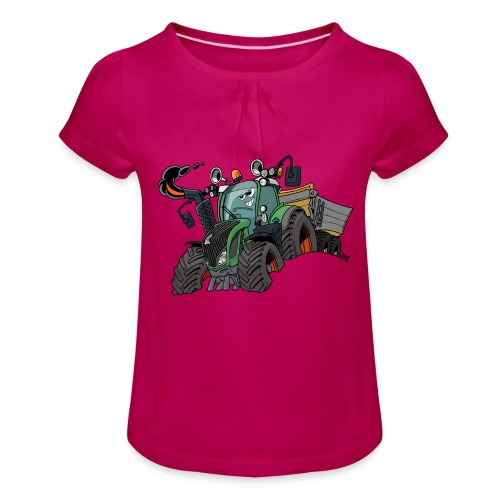 F 718Vario met kar - Meisjes-T-shirt met plooien
