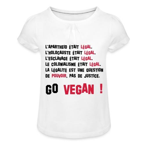 GO VEGAN - T-shirt à fronces au col Fille