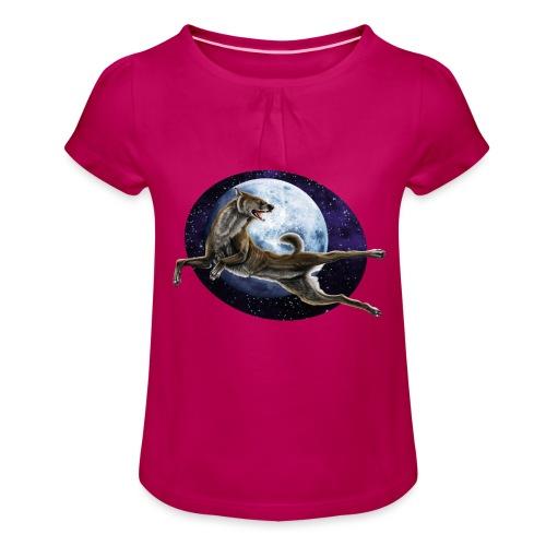 Galaxy Wolf - Mädchen-T-Shirt mit Raffungen