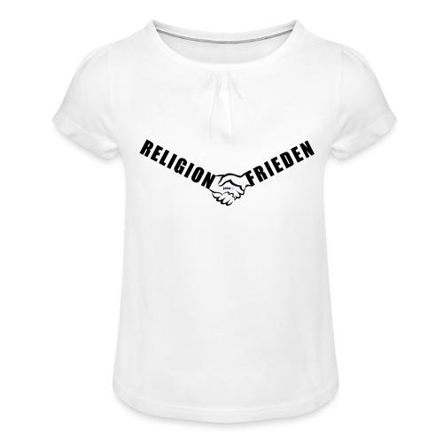 46_Handschlag_01 - Mädchen-T-Shirt mit Raffungen