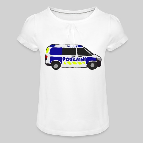 Posliini-Auto - Tyttöjen t-paita, jossa rypytyksiä
