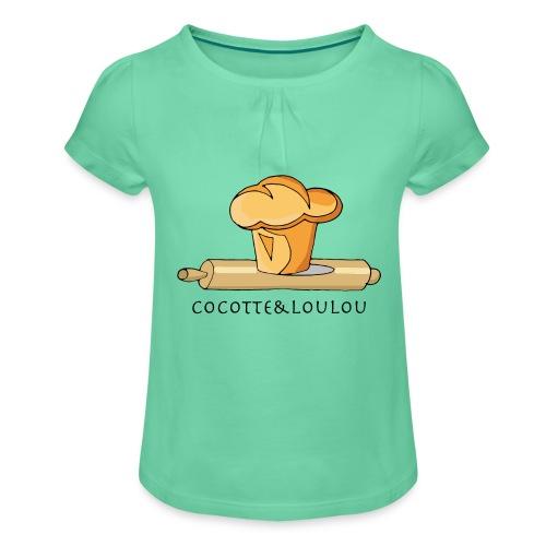 Brioche française et rouleau à patisserie - T-shirt à fronces au col Fille