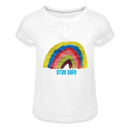 Stay Safe Rainbow Tshirt - Girl's T-Shirt with Ruffles