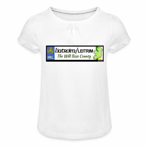LEITRIM, IRELAND: licence plate tag style decal eu - Girl's T-Shirt with Ruffles