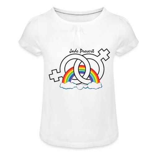 Rainbow Hom - Camiseta para niña con drapeado