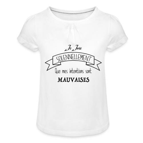 Je jure solennellement - T-shirt à fronces au col Fille