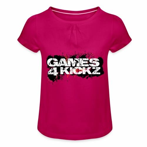 Games4Kickz Logo Splattered Background - Girl's T-Shirt with Ruffles