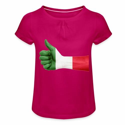 Italienische Flagge auf Daum - Mädchen-T-Shirt mit Raffungen