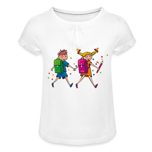 boy and girl - Mädchen-T-Shirt mit Raffungen