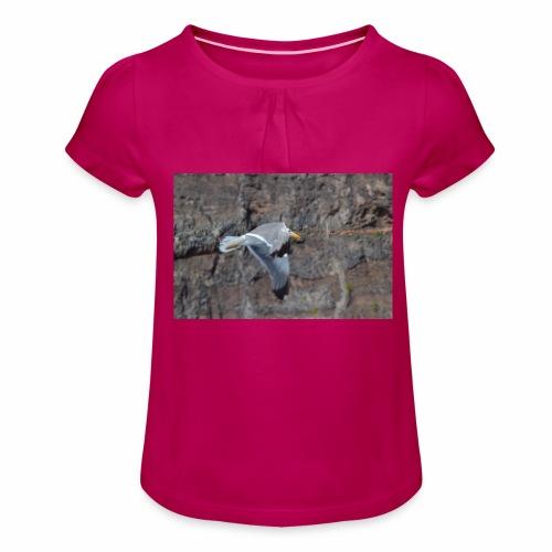 Möwe - Mädchen-T-Shirt mit Raffungen