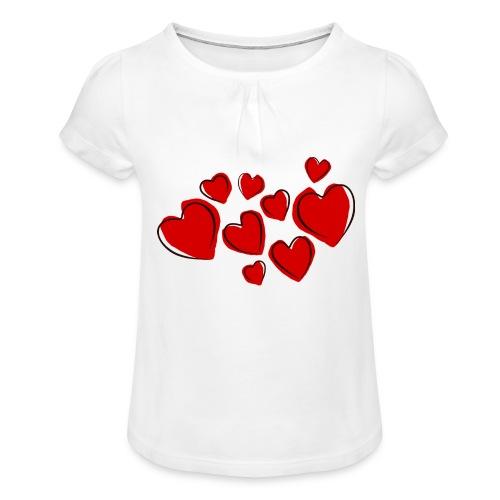 hearts herzen - Mädchen-T-Shirt mit Raffungen