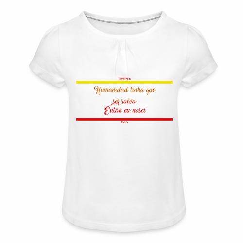 humanidad tinha salva texte jaune - T-shirt à fronces au col Fille