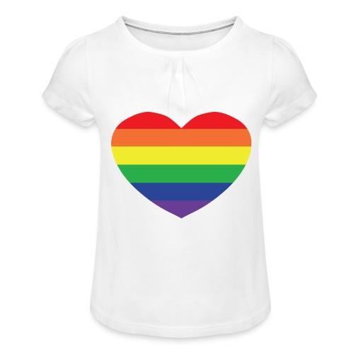 Rainbow heart - Girl's T-Shirt with Ruffles