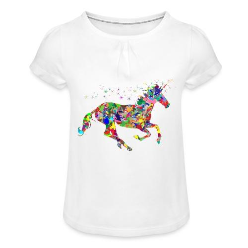 Einhorn - Mädchen-T-Shirt mit Raffungen