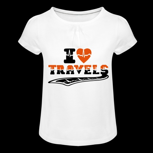 i love travels surprises 2 col - Girl's T-Shirt with Ruffles