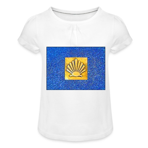 Scallop Shell Camino de Santiago - Girl's T-Shirt with Ruffles