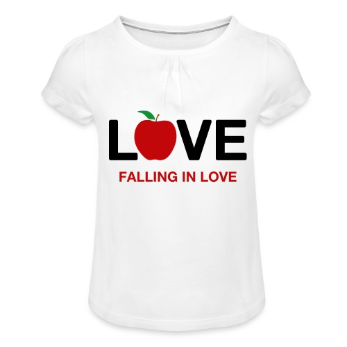 Falling in Love - Black - Girl's T-Shirt with Ruffles