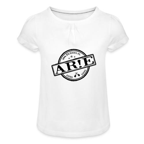 Backdrop AR E stempel zwart gif - Meisjes-T-shirt met plooien