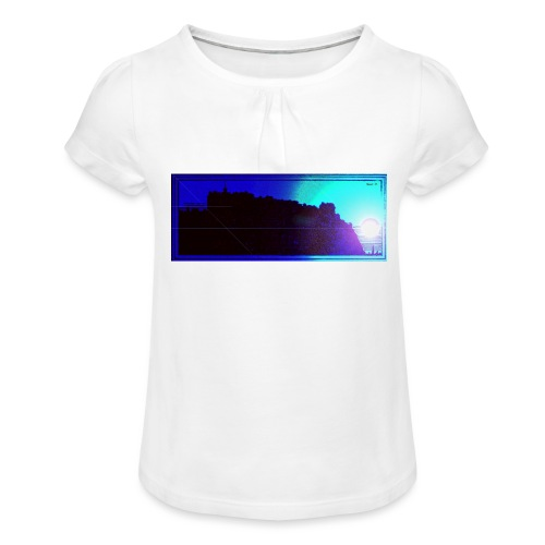 Silhouette of Edinburgh Castle - Girl's T-Shirt with Ruffles