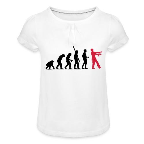 Zombie Evolution (zweifarbig) - Mädchen-T-Shirt mit Raffungen