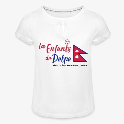 Les Enfants du Doplo - Grand Logo Centré - T-shirt à fronces au col Fille