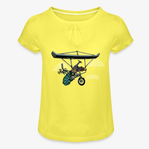 Flight of the Peacock - Girl's T-Shirt with Ruffles