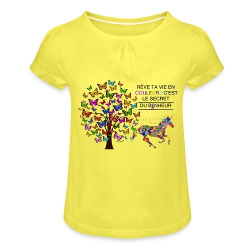 Licorne vie en couleurs - T-shirt à fronces au col Fille