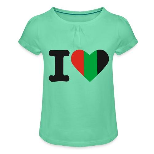 hartjeroodzwartgroen - Meisjes-T-shirt met plooien