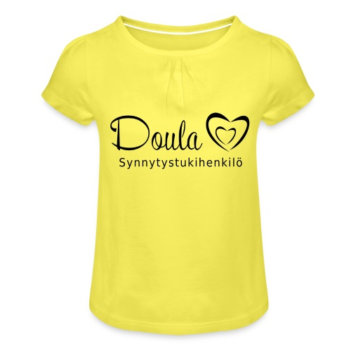 doula sydämet synnytystukihenkilö - Tyttöjen t-paita, jossa rypytyksiä