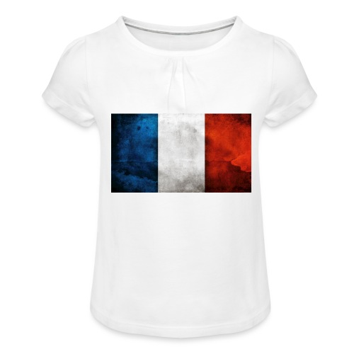 France Flag - Girl's T-Shirt with Ruffles