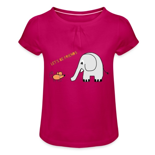 Elephant and mouse, friends - Girl's T-Shirt with Ruffles