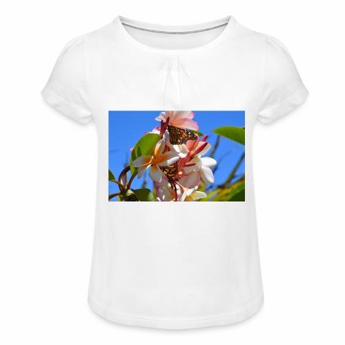 Schmetterling - Mädchen-T-Shirt mit Raffungen