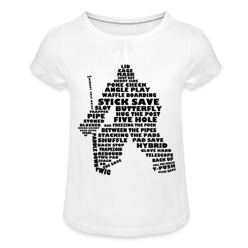 Language of Hockey (Goalie version, black print) - Girl's T-Shirt with Ruffles