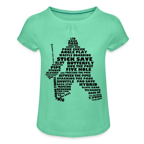 Language of Hockey (Goalie version, black print) - Girl's T-Shirt with Ruffles