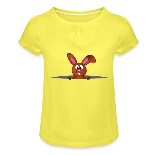 Cute bunny in the pocket - Maglietta da ragazza con arricciatura