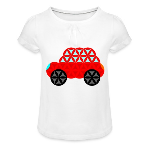 The Car Of Life - M01, Sacred Shapes, Red/R01. - Girl's T-Shirt with Ruffles