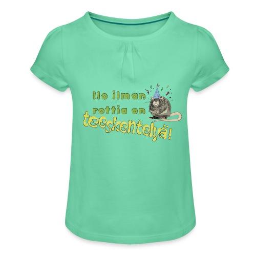 Ilo ilman rottia - kuvallinen - Tyttöjen t-paita, jossa rypytyksiä