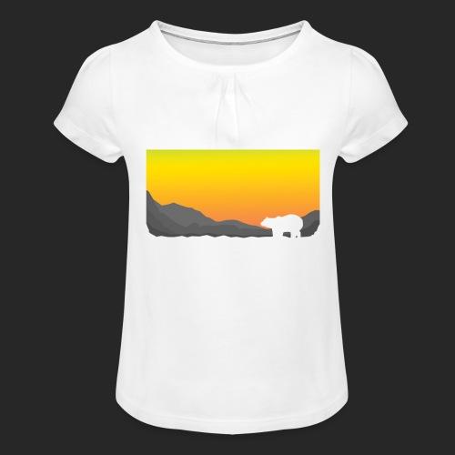 Sunrise Polar Bear - Girl's T-Shirt with Ruffles