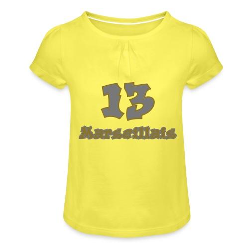 fier marseille blanc 03 - T-shirt à fronces au col Fille