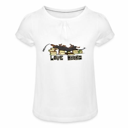 Love books - Koszulka dziewczęca z marszczeniami