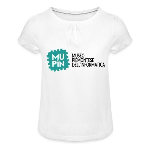 Logo Mupin con scritta - Maglietta da ragazza con arricciatura