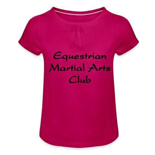 EMAC_logo_teksti - Tyttöjen t-paita, jossa rypytyksiä